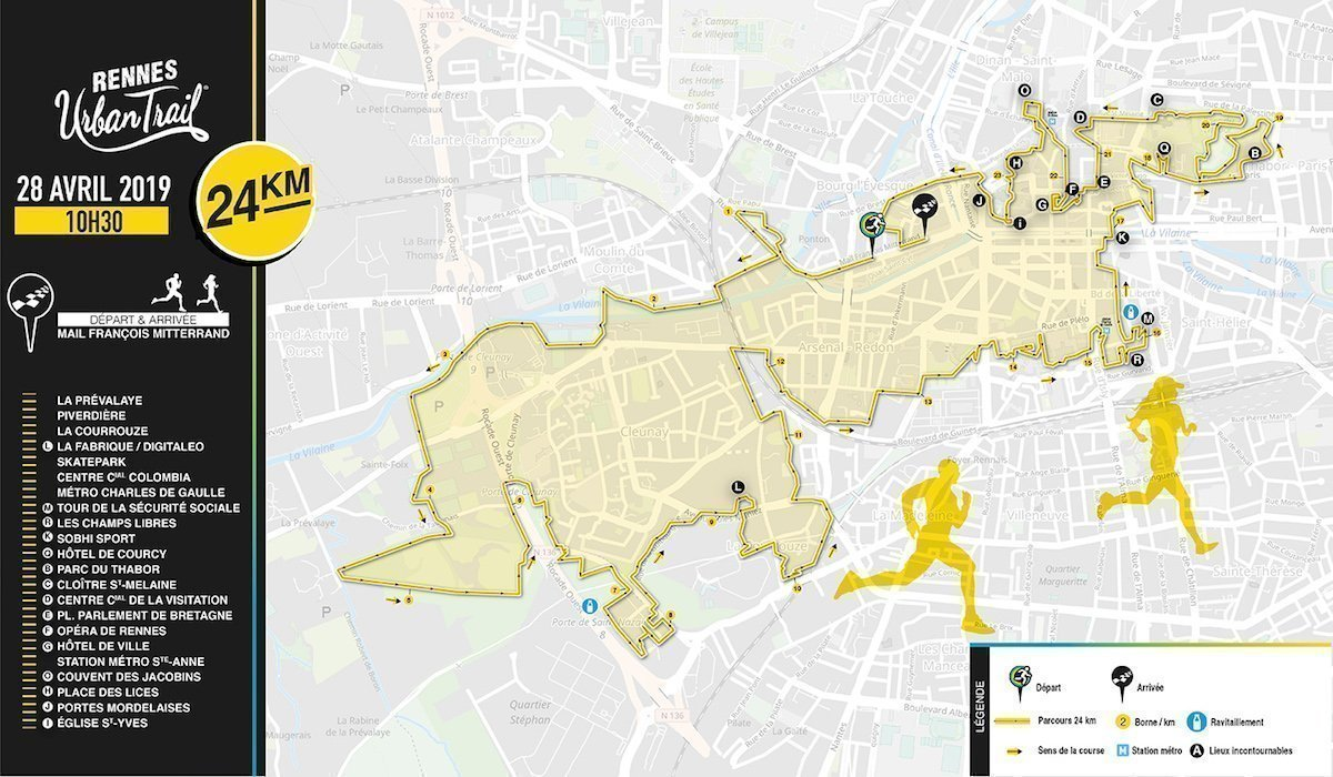 Rennes Urban Trail: le parcours 24 kms