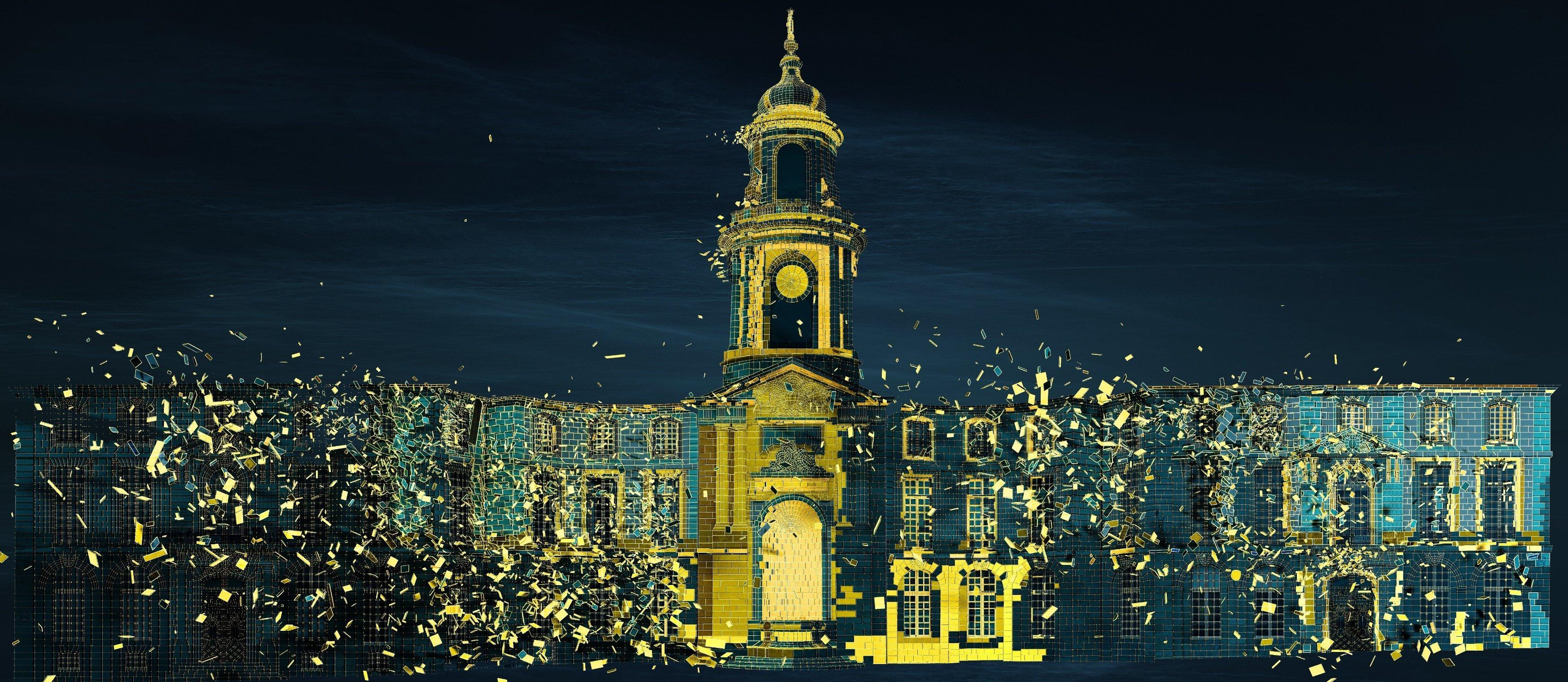 Illuminations sur l'Hôtel de ville à Rennes