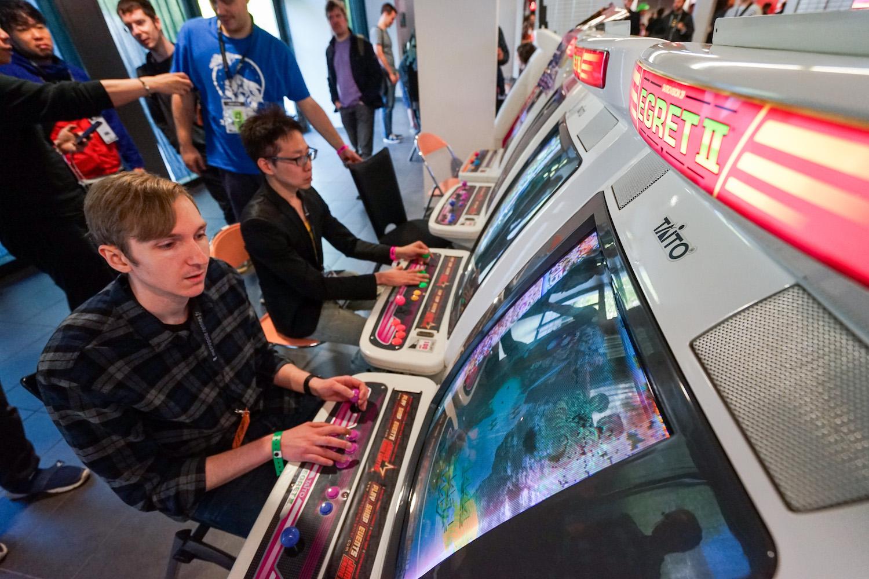 Bornes d'arcades au festival Stunfest à Rennes