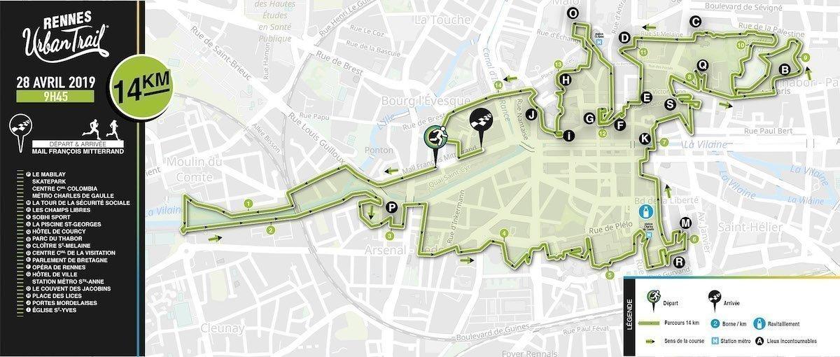 Rennes Urban Trail: le parcours 14 kms