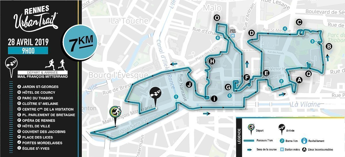 Rennes Urban Trail: le parcours 7 kms