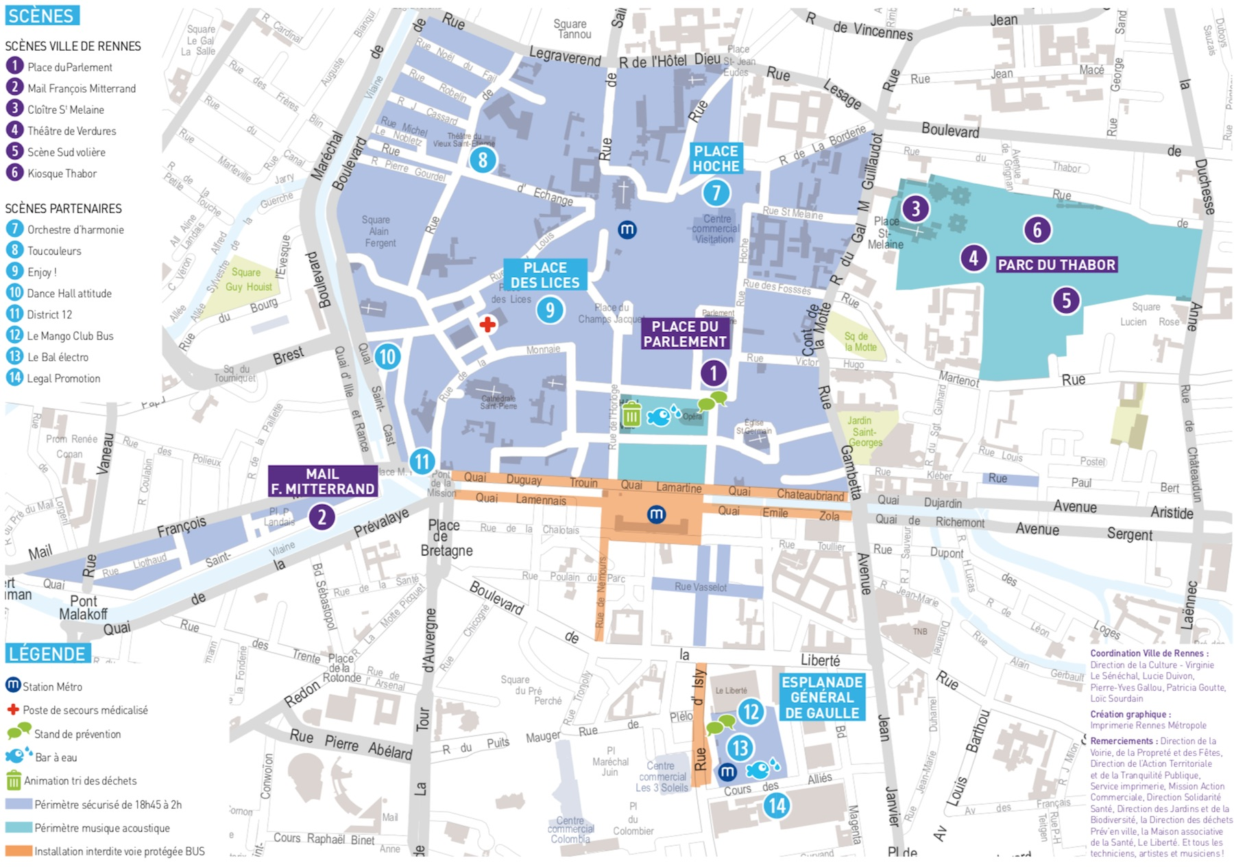 Carte de la fête de la musique 2019 à Rennes