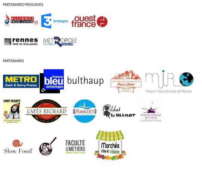 Les partenaires du Festival gourmand à Rennes