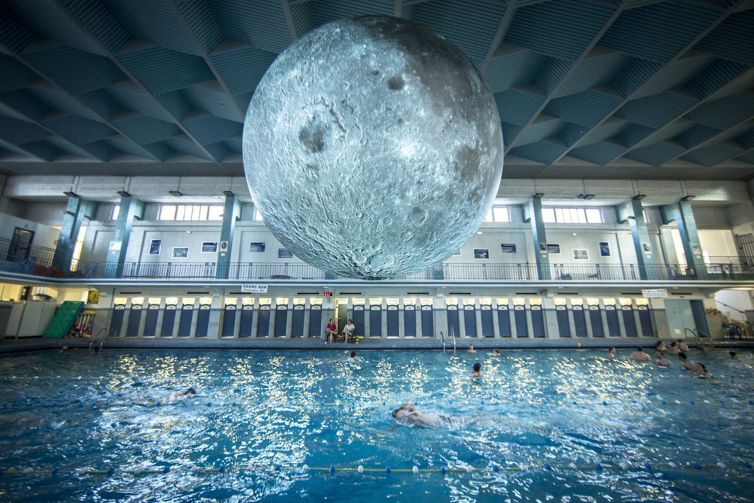 The pool under the moon