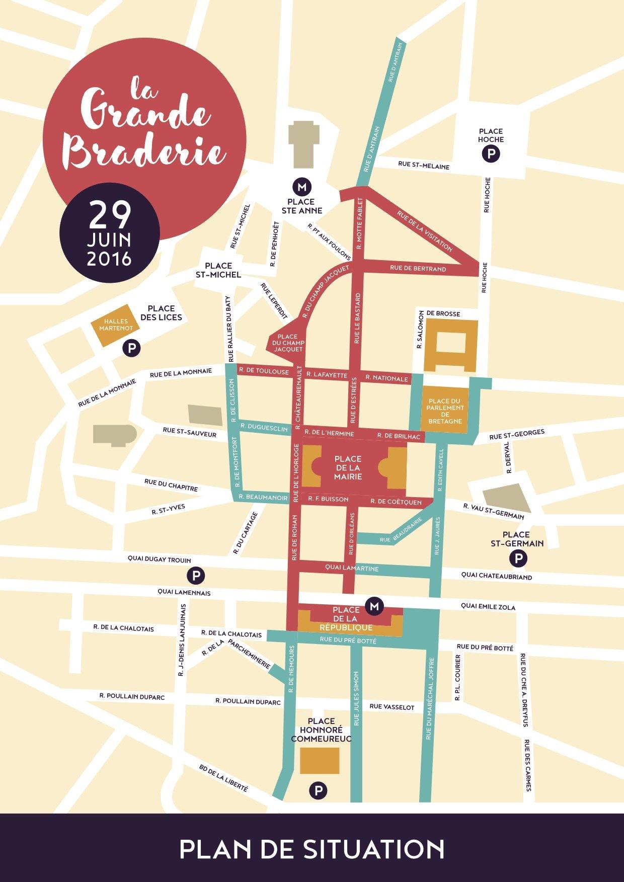 Plan de la braderie de Rennes