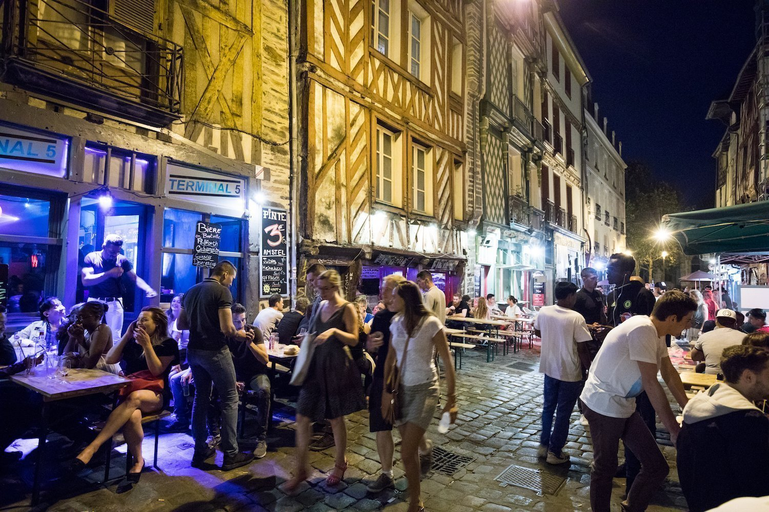 The Saint-Michel street : the Drinker's Alley in Rennes