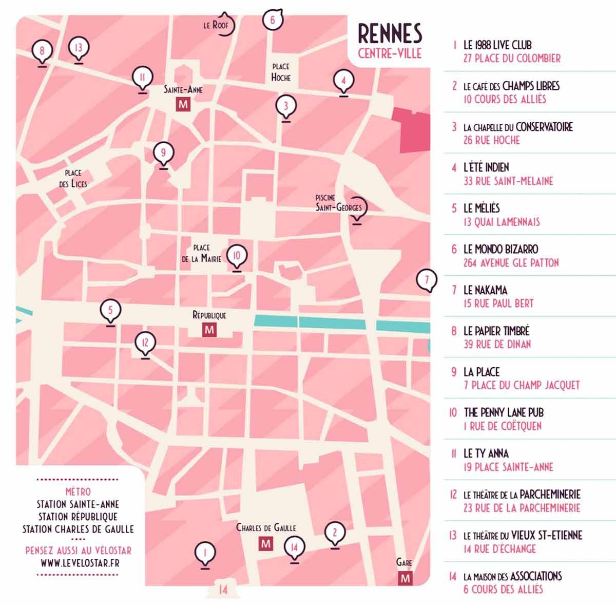 Carte des concerts - Bars en Trans