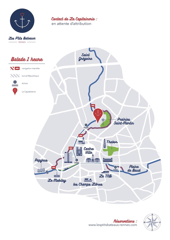Carte itinéraire 1h Les P'tits Bateaux