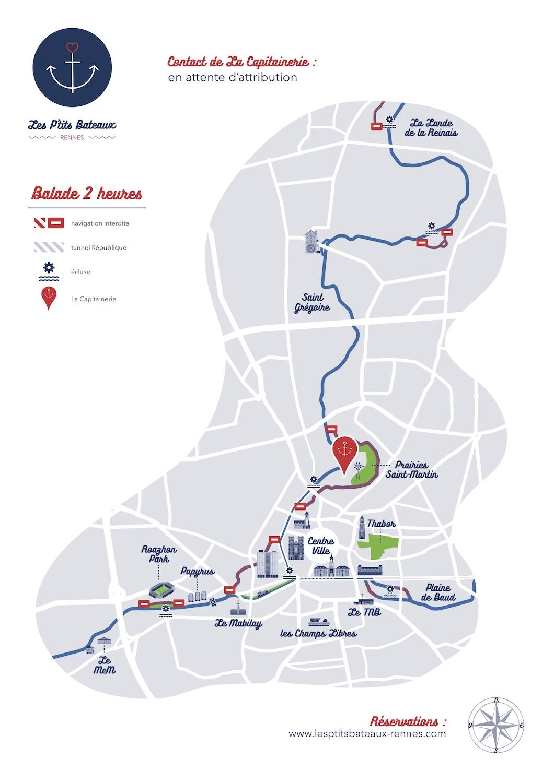 Carte itinéraire 2h Les P'tits Bateaux