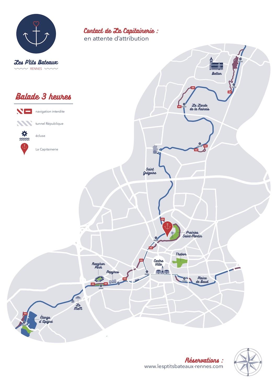 Carte itinéraire 3h Les P'tits Bateaux