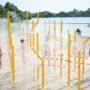 Brumisateurs sur la plage des étangs d'Apigné