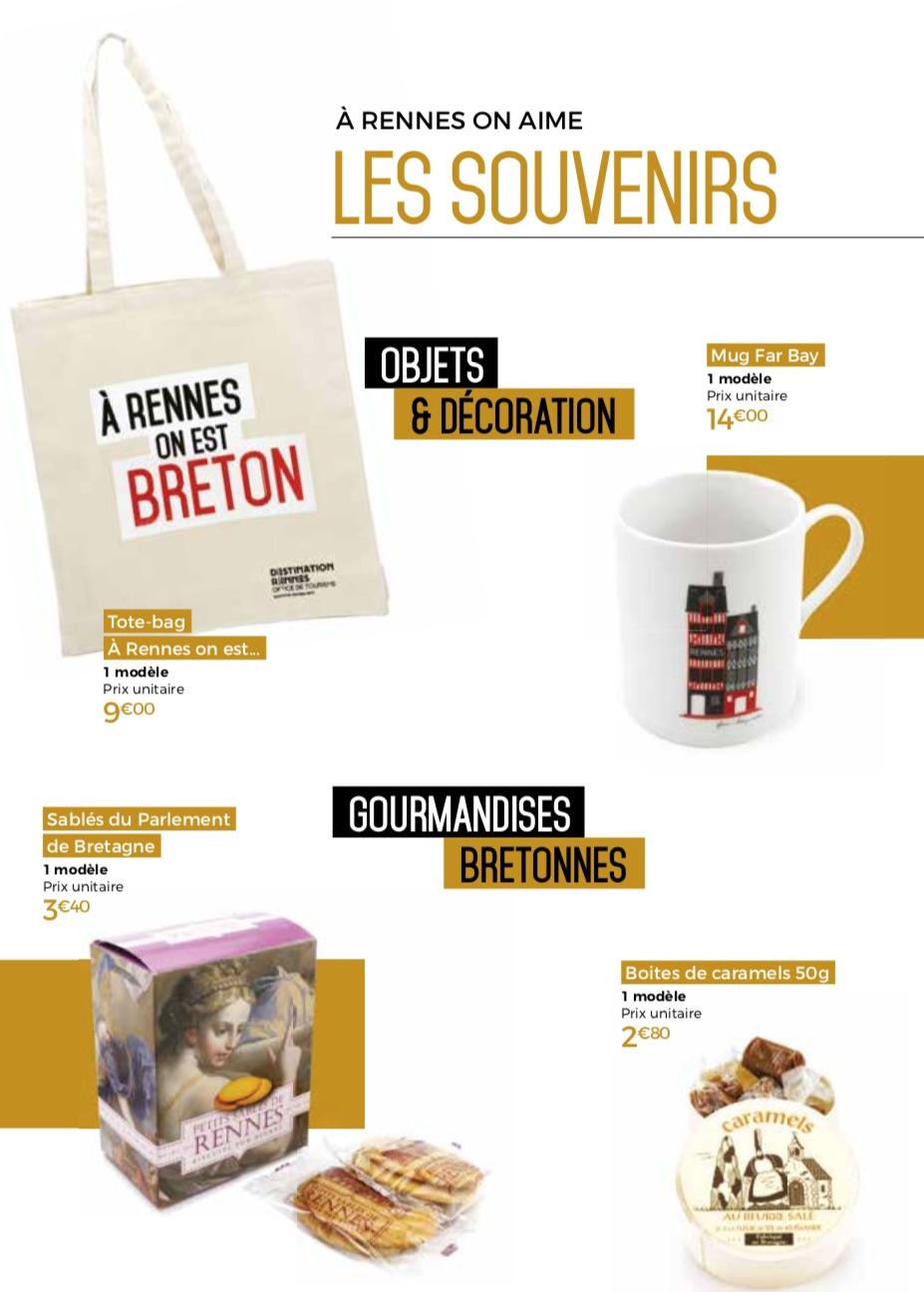 Souvenirs de la boutique de l'office du tourisme de Rennes