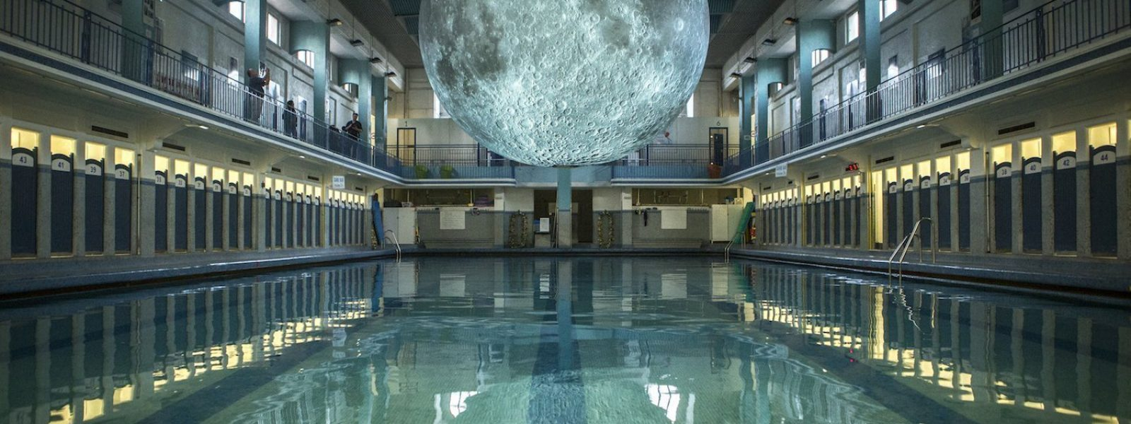 Luke Jerram's giant moon at the Rennes swimming pool