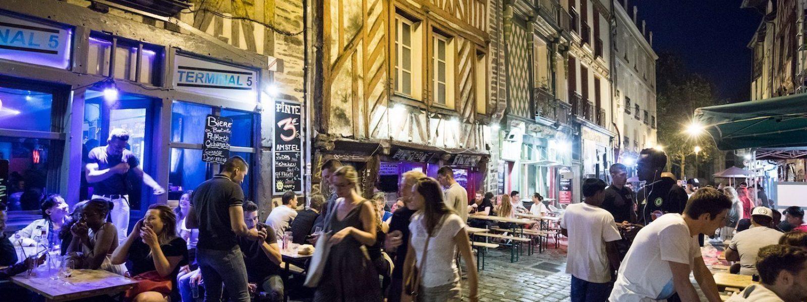 The Saint-Michel street : the Drinker's Alley in Rennes
