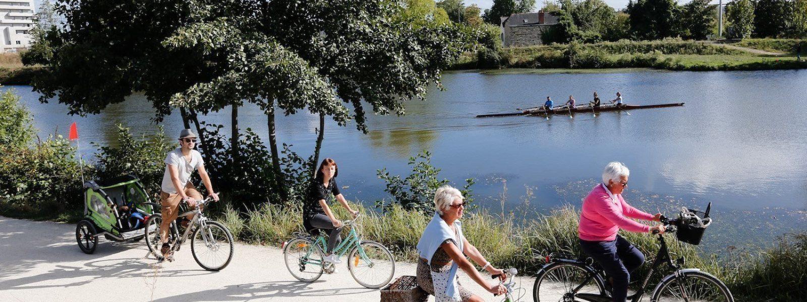 Vélo et aviron au bord de la Vilaine